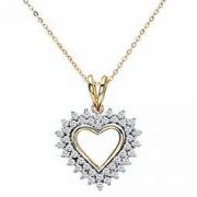 中亚Prime会员:Naava  0.33克拉  女式钻石黄金心形吊坠和46 cm 项链 702.18元+62.49元含税包邮约765元
