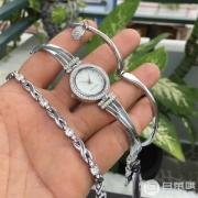 PRIMEDAY特价,Anne Klein 安妮克莱因 AK/3295SVST 施华洛世奇水晶装饰手表手链套装