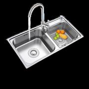 FUJIANG 福降卫浴 M-B2004(82)-D 厨房加厚水槽双槽套餐 (配大湾龙头送角阀) 238元包邮(需用券)