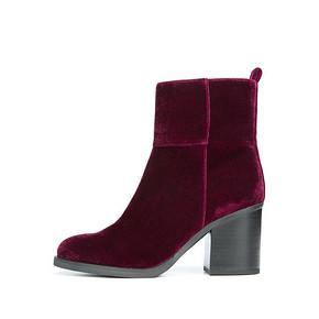 Franco Sarto秋冬新品雅致丝绒纯色修型尖头粗跟短靴A0559