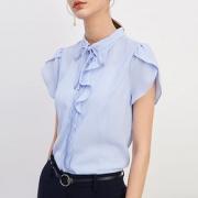 PRICH女装 2018新款时尚优雅韩版纯色系带领短袖衬衫 PRBA82312E269元