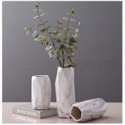 Hoatai Ceramic 华达泰陶瓷 陶瓷花瓶摆件 石纹几何款大号+2束尤伽绿 52元包邮52元包邮