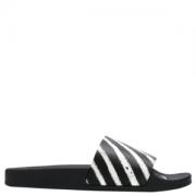 狂暑来袭、限尺码:OFF-WHITE男士黑色斑马纹拖鞋599元包邮(需50元定金)