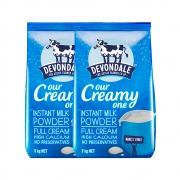 88VIP:Devondale 德运 全脂奶粉 1kg*2袋 *2件 165.2元包税包邮(双重优惠)¥165