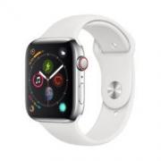 Apple Watch Series 4智能手表(GPS 蜂窝款 44毫米不锈钢表壳 白色运动型表带 MTX02CH/A)