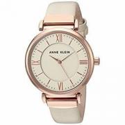 中亚prime会员:ANNE KLEIN 玫瑰 goldtone 和腮红皮革表带手表