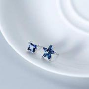 alivinee 阿莉维妮 s925银 蓝钻方形五瓣花不对称耳钉(配银耳塞)