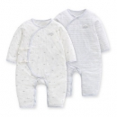 FGB新生儿婴儿夏装宝宝衣服纯棉长袖斜襟系带连身衣2入装好孩子74元