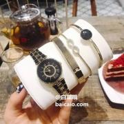 Anne Klein 安妮·克莱恩 AK/3286BKST 施华洛世奇水晶 女士手镯手表套装新低291.39元