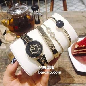 Anne Klein 安妮·克莱恩 AK/3286BKST 施华洛世奇水晶 女士手镯手表套装