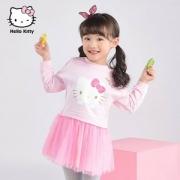 Hello Kitty  中小童洋气拼接网纱公主裙长袖连衣裙 2色