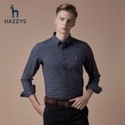 LG时装旗下中高端品牌 Hazzys 哈吉斯 男士格纹长袖衬衫