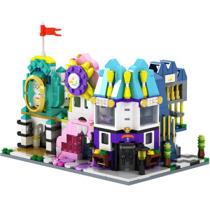 乐檬 城市迷你街景系列颗粒拼装积木