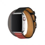 新品发售: Apple 苹果 Watch Hermès Double Tour 皮革表带 40mm 黑、砖红配灰色