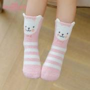 caramella 秋冬地板袜 儿童珊瑚绒袜 4双  券后14.9元