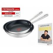 中亚Prime会员: Tefal 特福 Jamie Oliver系列 不锈钢不粘锅 2件套