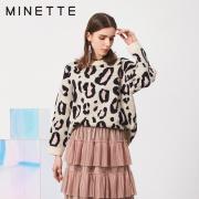 minette 30418078001 春季新款豹纹百搭圆领长袖线衫 79元包邮¥79