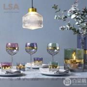 LSA International Bangle系列 镀金三拼彩色 玻璃高脚红酒杯 BN06 525ml*2个