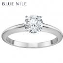 BlueNile0.3克拉14k白金小巧单石订婚戒指
