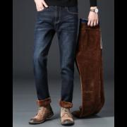 特奴丹 男士加绒加厚款 修身直筒牛仔裤