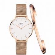 Daniel 圣诞节好礼:Wellington DW00100163 女士时装手表+玫瑰金开口手镯599元包邮包税
