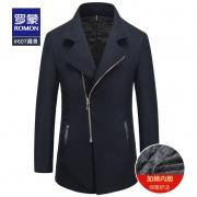 清仓特价,50%羊毛,26款:罗蒙 男士 中长款羊毛大衣外套