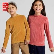 UNIQLO优衣库 418641儿童弹力摇粒绒罗纹高领T恤