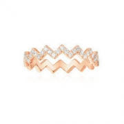 apm MONACO MYSTERIEUSE系列 镶晶钻925银 Z字形女士戒指 *3件