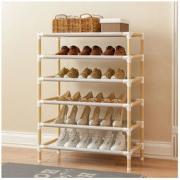家时光 简易六层实木鞋柜 30*65*112cm