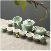 苏氏陶瓷(SUSHI CERAMICS)青瓷茶杯旅行茶具套装14头陶瓷功夫茶具礼盒 *3件142.8元(合47.6元/件)