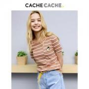 CacheCache 7609142834 女款条纹不对称短袖
