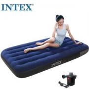 PLUS会员:INTEX 68950 蓝色植绒单人充气床垫