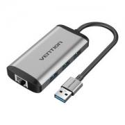 VENTION威迅四合一扩展坞(USB3.0*3+千兆网口)