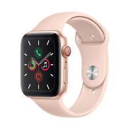 Apple Watch Series 5智能手表(GPS+蜂窝款 44毫米金色铝金属表壳 粉砂色运动型表带 MWWD2CH/A)