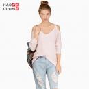 Haoduoyi 8142M340 女士V领纯色宽松针织衫 49元¥49