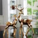 Hoatai Ceramic 华达泰陶瓷 北欧几何鹿创意摆件 金色一对 143元包邮(需用券)¥143