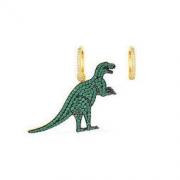 apm MONACO WONDERLAND系列 女士不对称镶薄荷绿晶钻恐龙耳环 绿/金色 *3件