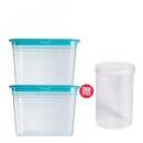 adous home 冰箱保鲜收纳盒 方盒1400ml*2+圆盒 500ml 9.9元包邮(需用券)¥10