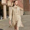三彩 D945013L00 女士荷叶边格纹连衣裙124元包邮(1件5折)