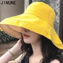 JINUNE 防紫外线双面拼色 大檐渔夫帽 黄色M码27元包邮(需用券)