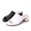 BELLE 百丽 BU430BT9 牛皮粗跟拖鞋 *2件 488元包邮(合244元/件)¥488