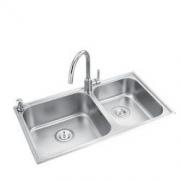 MOEN 摩恩 304不锈钢水槽 双槽+精铜龙头 80*45cm889元包邮(双重优惠)