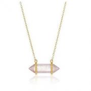 18k 镀金标准纯银水平查克拉点项链,40.64 厘米 + 5.08 厘米延长链