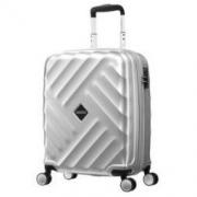 美旅拉杆箱 简约格纹商务行李箱男女时尚硬箱万向轮旅行密码箱 20英寸 BH9银色