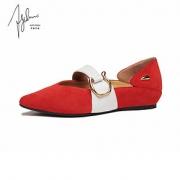 AJOY SAHU/AJ2020春夏新款女鞋单鞋女平底鞋休闲鞋尖头女鞋一字带¥1508包邮