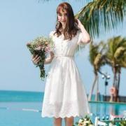 CECILELITE 女士蕾丝雪纺显瘦纯色连衣裙