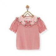 10日0点: MiniPeace 太平鸟童装 女童格纹樱桃上衣