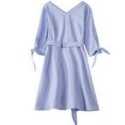 Lagogo 拉谷谷 女士V领条纹连衣裙68.85元包邮