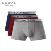 美国 诺帝卡 男士40支纯棉平角内裤 3条装 一片式无感剪裁89元包邮