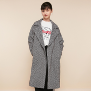 Cache Cache 8816010136 女士中长款西装领格子大衣¥81.00 1.6折